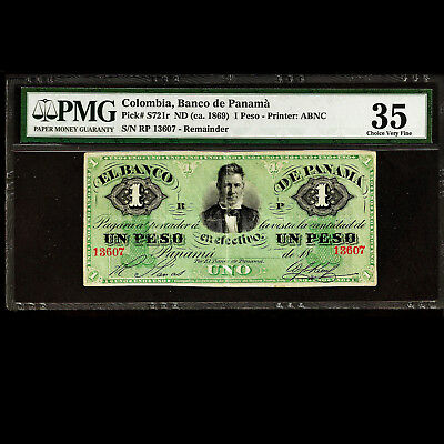 Colombia Banco de Panama 1 Peso 1869 Remainder Banknote PMG 35 P-S721r Choice VF