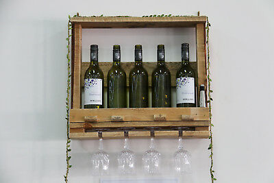 Handmade Rustic Upcycled Timber Pallet Wine Rack Wall Mounted
