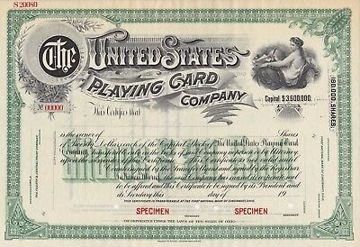 United States Playing Card Company Specimen Stock Certificate Ohio Rare 1915!