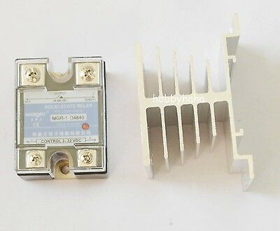 New D4840 Solid State Relay SSR AC480V 40A + Heat Sink Control Voltage 3-32V DC