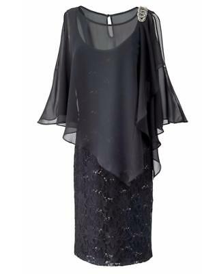 Mother of Bride Groom Wedding Prom evening formal Gown Black dress plus 22W 2X