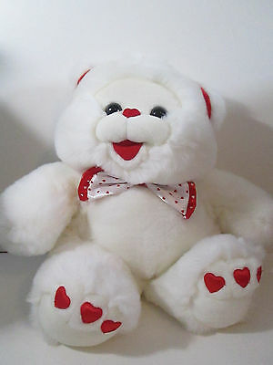 "White Valentine Teddy Bear Plush with Hearts and Bow Tie 19"" Fairview NWT"