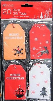 20 Kraft Christmas Gift Tags - 4 Assorted Designs Gift Tags Presents Appeal