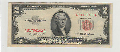 1953 A $2 Two Dollars Us Red Seal Note Circulated 102A
