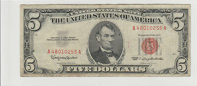 1963 $5 Five Dollars Us Red Seal Note Circulated 255A