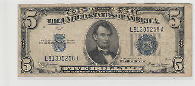 1934 B  $5 Five Dollars Us Silver Certificate Blue Seal Note Circulated 258A
