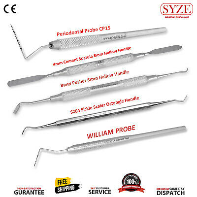 Dental Scalers Who Probe, William Probe, Band Pusher, CP15 BPE, Cement Spatula