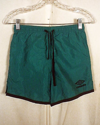 vtg 90s green Umbro Soccer Shorts nylon USA made with drawstrings Youth S