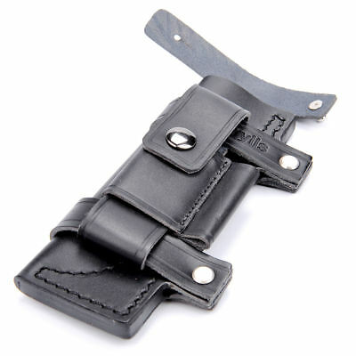 "HQ Straight Leather Case Black Belt Sheath For Less 7"" Fixed Knife Pouch Outdoor"