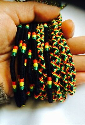 Rasta one love braided thread friendship foot anklet bracelet x2