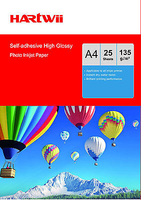 25 Sheets A4 135 Gsm Self-adhesive Sticky high Glossy Photo Paper Inkjet Paper