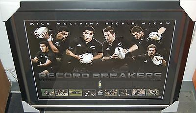 NEW ZEALAND ALL BLACKS RICHIE McCAW MILS MULIAINA SIGNED FRAMED RECORD BREAKERS
