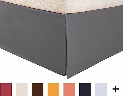 Superior 1500 Series 100% Microfiber Pleated Queen Bed Skirt Solid, Silver - 15