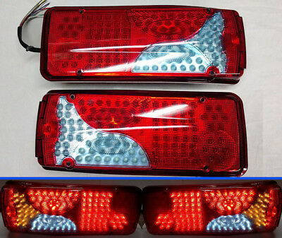 Pair 24V Led Rear Tail Lights Lamp Lorry Trailer Truck 120Led Fit Man Daf Scania
