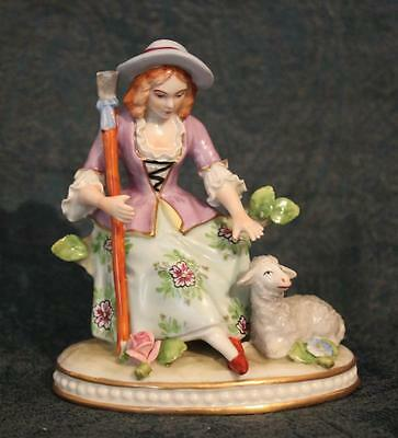Beautiful Dresden Sitzendorf Porcelain Figurine ~ Shepherdess with Lamb ~