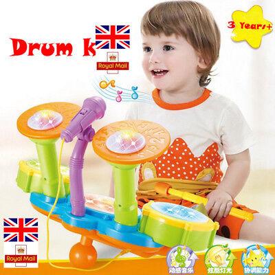 Kids Jazz Drum Set Educational Toys For Toddlers XMAS Gifts Musical Band Kit