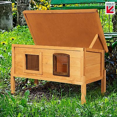 XL External Self Heating Outdoor Cat House Kennel with One Way Privacy Window