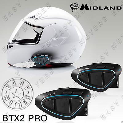 Interfono Bluetooth Interphone Midland Btx2 Twin Pack X Tutti Casco Caschi Moto