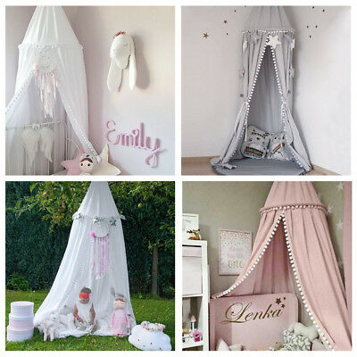 Kids Baby Bed Canopy Bedcover Round Dome Cotton Mosquito Net Curtain Play Tent