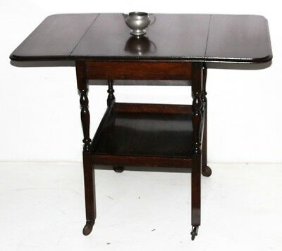 An Art Deco Mahogany Drop Leaf Oval Tea Trolley Side Table - FREE P&P [PL2717N]