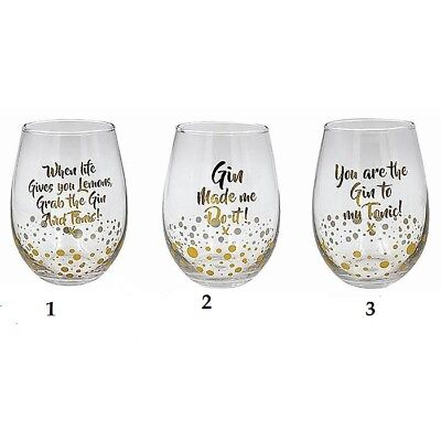 1 x Gold Bubble Words Gin Tumbler Glass  Boxed Three Designs Avaliable  LP40088