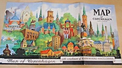 Beautiful Map of Copenhagen Denmark Handelsbank Pre War