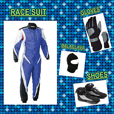 Go Kart Race suit (includes Suit, Gloves, Balaclava & Shoes) free bag- cool blue