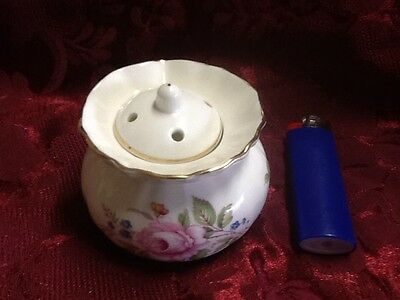 Authentic Staffordshire fine bone china potpourri pot Stamped