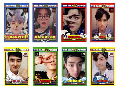 8pcs EXO The Power of Music B Version Self-made Cards BAEKHYUN XIUMIN Photocard