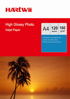Hartwii 120 Sheets A4 180 Gsm High Glossy Photo Paper For Inkjet Paper Printing