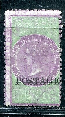 Australianew South Wales Nsw 5/ Queen Victoria Ovpt Postage Wmk Nsw