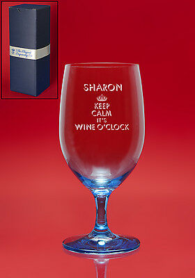 Personalised Engraved ICE BLUE CRYSTAL Wine Glass -Weddings Mother Bride Awards
