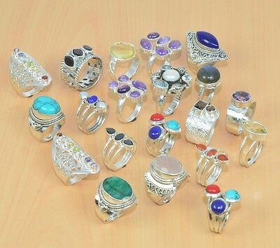 Wholesale 20Pc 925 Solid Sterling Silver Natural Turquoise & Mix Stone Ring Lot