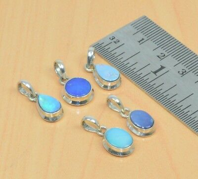 Wholesale 5Pc 925 Solid Sterling Silver Natural Blue Australian Opal Pendant Lot