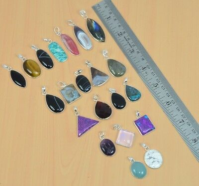 Wholesale 21Pc 925 Solid Sterling Silver Tiger Eye & Mix Stone Pendant Lot L497