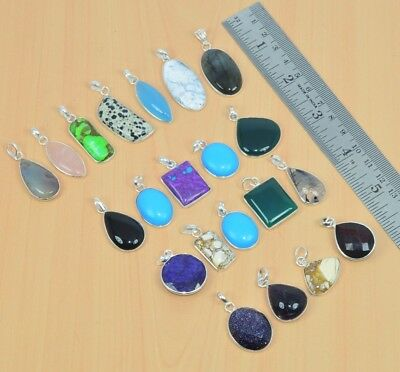 Wholesale 21Pc 925 Solid Sterling Silver Black Onyx & Mix Stone Pendant Lot L498