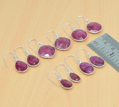Wholesale 5Pair 925 Solid Sterling Silver Natural Red Ruby Hook Earring Lot L525