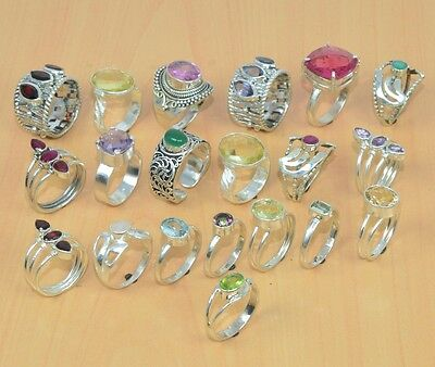 Wholesale 20Pc 925 Solid Sterling Silver Natural Green Onyx & Mix Stone Ring Lot