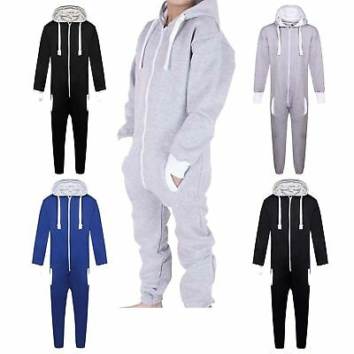 New Boys Girls Plain Hooded All In One Jumpsuit Playsuit Romper Dungaree UK 7-13