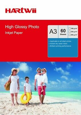 60 Sheets A3 High Glossy Photo Inkjet Paper Hartwii UK 180 230 240 260Gsm Print