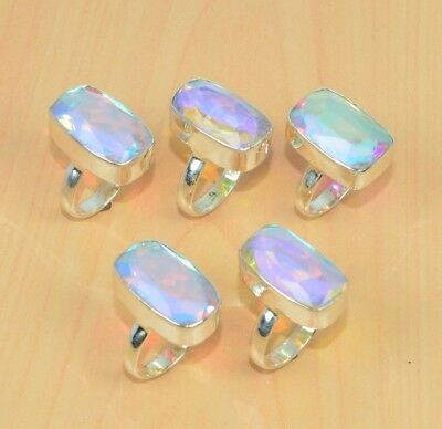 Wholesale 5Pc 925 Solid Sterling Silver Pink Rainbow Mystic Quartz Ring Lot L515