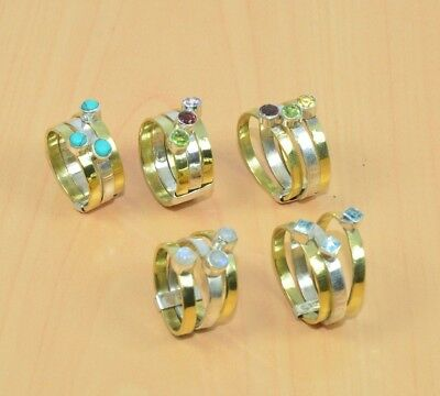 Wholesale 5Pc 925Solid Sterling Silver & Brass Turquoise &mix Stone Ring Lotl514