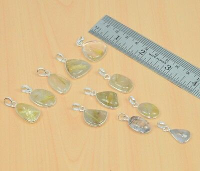 Wholesale 11Pc 925 Solid Sterling Silver Natural Golden Rutile Pendant Lotl494