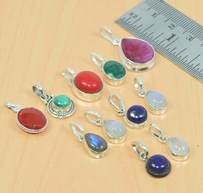 Wholesale 11Pc 925 Solid Sterling Silver Red Coral & Mix Stone Pendant Lot L487