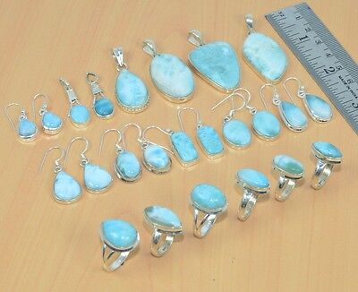 Wholesale 18Pc 925Solid Sterling Silver Bluelarimar Pendant-Earring-Ring Set Lot