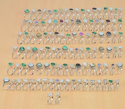 Wholesale 108Pc 925 Solid Sterling Silver Natural Black Onyx &mix Stone Ring Lot