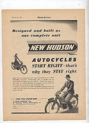 New Hudson Autocycle Motorcycle Original Advertisement