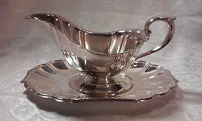 Gorham, Heritage Gravy Boat and Under Plate, Silverplate NO BOX