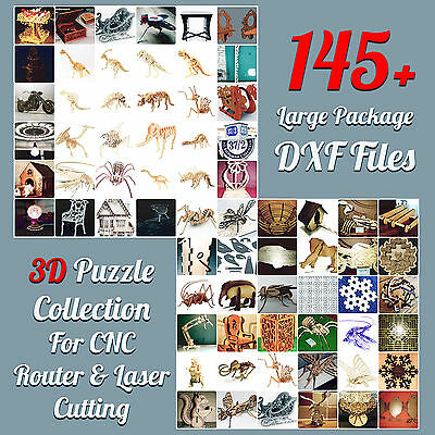 MORE THAN 145 DXF files COLLECTION 3D PUZZLE for CNC ROUTER & LASER CUTTING