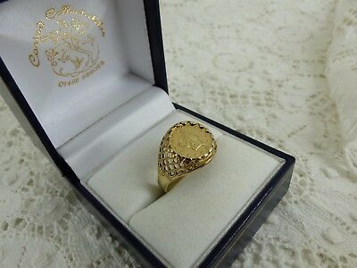 9ct 9carat Yellow Gold Coin Tallar Style Ring, Size P